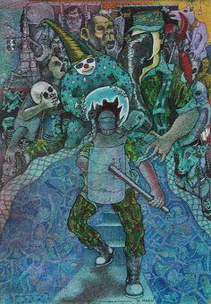"""Dagoberto NOLASCO : """"El Mago"""" ; 1989 ; tinta sobre papel ; 25cm x 18cm ; colección MDAA (adquirido del artista en Noviembre 1989)"""