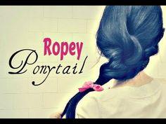★ EASY FANCY PONYTAIL TUTORIAL| ROPE SIDE BRAID STYLES FOR MEDIUM LONG HAIR | HAIRSTYLES UPDOS - YouTube