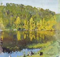 (Eero) Erik Nikolai Järnefelt (1863 — 1937, Finland) Forest Lake. 1894  watercolour and gouache. 20.5 x 21 cm. Ateneum Art Museum, Helsinki