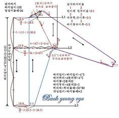 한복 바지 패턴 뜨는방법 2 How To Make Clothes, Korean Men, Pattern Making, Sewing Tutorials, Planer, Charts, Model, Korean Dress, Patrones