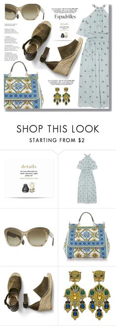 """""""Espadrilles"""" by drigomes ❤ liked on Polyvore featuring Temperley London, Oliver Peoples, Dolce&Gabbana, Gap and Gucci"""