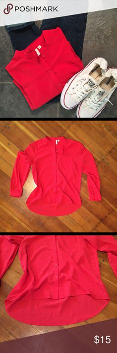 Frenchi from Nordstrom flowy red shirt size S Beautiful flowy shirt by Frenchi from Nordstrom. Size S but could probably fit a M. Goes lower in the back so it would go perfect with leggings or skinny jeans. Bright cherry red. Frenchi Tops Button Down Shirts