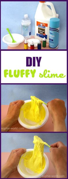Easy diy slime tutorial for fluffy slime brought to you by Sophie's World! Craft ideas for kids, teachers, and moms.