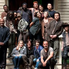 The Walking Dead cast on set during Season 5
