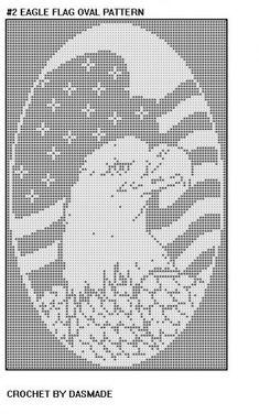 EAGLE FLAG OVAL PATRIOTIC FILET CROCHET AFGHAN PATTERN #2