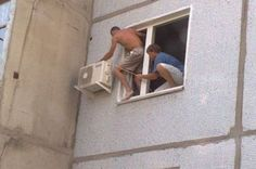 Probably not the safest way to install. Be safe when installing ACs