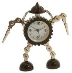 Funky Reclaimed Metal Robot Alarm Clock With Photo Clip Hands - Black: Novelty Alarm Clock: AlarmClockShop.co.uk