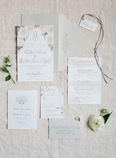 Gray watercolor wedding stationery