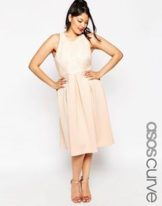 ASOS CURVE Lace Top Midi Skater Dress - $81