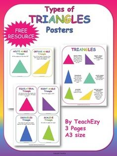 FREE resource-Types of Triangles Posters. This resource contains 1 large A3 poster with the types of triangles and 6 smaller posters with each type.
