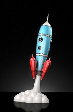Blast Off! Space-Rocket Art Toy Sculpture by Lawrence Northey. Such fun & Games with Space and Science motifs! Retro Toys, Vintage Toys, Arte Nerd, Retro Rocket, Sculpture Metal, Space Toys, Vintage Space, Retro Futuristic, 3d Prints