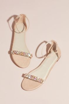 Chunky iridescent gems form a laurel leaf pattern on the faux-suede foot strap of these flat sandals. Coral Sandals, Shoes Flats Sandals, Ankle Strap Flats, Heels, Cute Shoes Flats, Nude Sandals, Ankle Straps, Sandal Wedges, Gold Flats