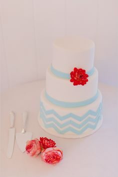 light blue chevron wedding cake