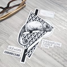Dotwork chameleon and pattern • custom tattoo design, available on Skinque!