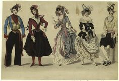 c1840 Costumes fancy dress for a masked ball  - from digitalgallery.nypl.org