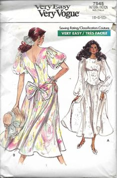 Vogue 7545 Misses Semi-Fitted Dropped Waist Dress With Flared Skirt And Back Bow Sewing Pattern, Size 6-8-10, UNCUT by DawnsDesignBoutique on Etsy