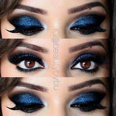 Eye makeup by bushra nazer Beautiful Eye Makeup, Beautiful Eyes, Eye Makeup Steps, Makeup Step By Step, Makeup Inspiration, Makeup Looks, Halloween Face Makeup, Make Up, Lips