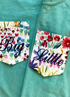 Big Little Sorority Comfort Colors with Wildflowers Floral Pocket T shirt The Wildflowers floral fabric pocket is embroidered with Navy thread in Script font on a Seafoam, Flo Blue or Crimson T shirt Due to the random print of the fabric, your pockets may differ. **This listing is for