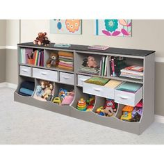 Combo Bin Storage Unit With Three Baskets Gray - Badger Basket : Target Playroom Table, Small Playroom, Playroom Wall Decor, Toddler Playroom, Office Playroom, Playroom Furniture, Playroom Ideas, Playroom Shelves, Children Playroom