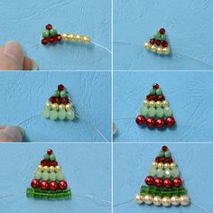 DIY Christmas Tree Jewelry with Beads - Christmas Jewelry to Make – How to Make Beaded Christmas Tree Jewelry Set - Christmas Tree Earrings, Christmas Ornaments To Make, Christmas Crafts, Xmas Tree, Felt Christmas, Homemade Christmas, Simple Christmas, Christmas Decorations, Bead Crafts