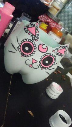 Dia de los muertos sugar skull cat diy repurposed soda bottle flower planter