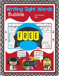Learn to write with this fun and interactive product. It will require the students to read the sight words, trace and rewrite the sentences. Check out the full version of this productWriting Sight Words BubbleSight words included : Pre-Primer: a, and, away, big, blue, can, come, down, find, for, funny, go, help, here, I, in, is, it, jump, little, look, make, me, my, not, one, play, red, run, said, see, the, three, to, two, up, we, where, yellow and you.Please download this product for a…
