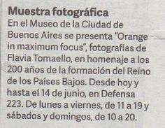 """El diario Clarín de Argentina invita a visitar """"Orange in maximum focus"""" en el Museo de la Ciudad de Buenos Aires."""