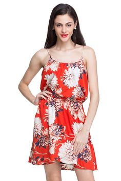Spread cheer on your wardrobe with this lovely orange mini dress with overall off-white Mongolian floral print. Comes with an elasticated waistline. Find more information visit us-http://tinyurl.com/zh4buzy