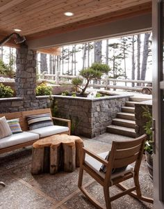 Uber cool outdoor spaces to make the most of the warmer weather This porch is perfect for lazy summer days. The exterior of this home is clad in naturally grey timbers and stone, so the house almost blends into the seascape. Outdoor Rooms, Outdoor Living, Outdoor Furniture Sets, Outdoor Decor, Indoor Outdoor, Outside Living, Rustic Outdoor, Recycled Furniture, Patio Under Decks