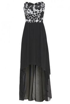 Pink and black satin mesh prom dress