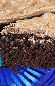 Quick and Easy Vegan Chocolate Cake recipe from Jenny Jones (Jenny Can Cook) - One bowl. No mixer, no eggs.