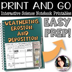 Weathering, Erosion, And Deposition Interactive Notebook Printables Worksheets Fourth Grade Science, Middle School Science, Elementary Science Classroom, Weathering And Erosion, Types Of Education, Free Notebook, Earth Surface, Worksheets For Kids, Earth Science