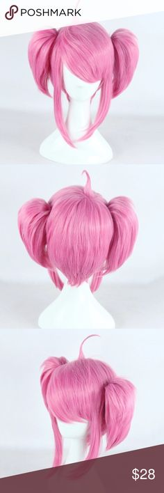 League of Legends Star Guardian Lux Cosplay Wig Short pink bob wig with two small clip-on ponytails. High quality synthetic fibers can be heat styled on the lowest setting. Costume National Other