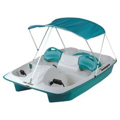 Perfect for an afternoon at the beach or morning on the lake, this 5-person pedal boat showcases reclining seats and a canopy. Includes adjustable seating wi...