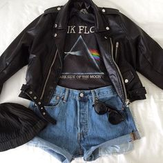 Grunge Pink Floyed Inspired Outfit with Faux Leather Jacket, Beanie, Denim Shorts and Sunglasses
