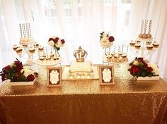 A most regal #DessertTable by @adexperienceevents featuring our #Gold #Glitz #sequins tablecloth! 👑  #wedding #weddingdecorations #bride #decor #weddingplanner #eventplanner #partyplanner #cvlinens #bridetobe #partydecor #eventplanning #event #eventdecor #eventdesign #eventos #evento #party #florist #bakery #catering #tabledesign #TaggedTuesdays