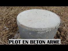 faire un plot en beton armé - béton réaliser à la bétonnière - fondation terrasse en bois - YouTube