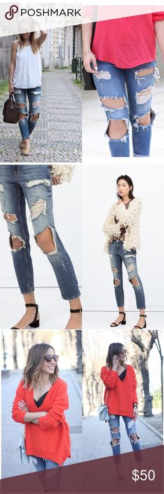 Zara cigarettes ripped jeans Zara cigarettes ripped jeans-NWOT- perfect condition, relaxed fit, medium rise, cropped, size 8 but fit like a 6. Zara Jeans Ankle & Cropped