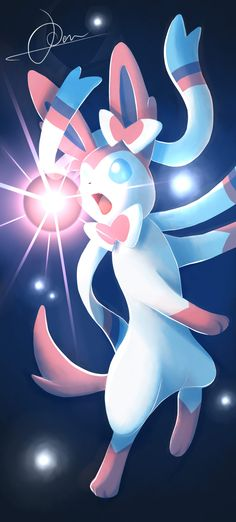 Finally the last eeveelution picture It shows the new eeveelution Sylveon from Pokemon X and Y using moon blast Enchant them all! The intertwining has arrived! Pokemon Gif, Kalos Pokemon, Pokemon Eevee Evolutions, Mega Pokemon, Pokemon Fan Art, Pokemon Pokedex, Pikachu, Images Kawaii, Pokemon Mignon