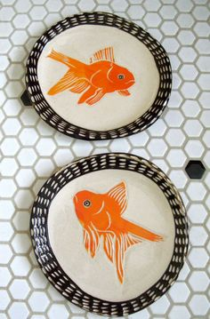 Goldfish Plate with Dotted Brown Rim  (via Etsy)
