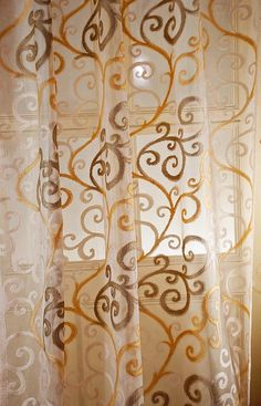 22d74f6a1 Ds Ivory Beige Scroll 48 Wide Living Room Window Netted Sheer Curtain Panel  48W X 63