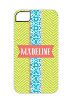So hard to choose a favorite, but I love the colors and mix of patterns on this Lime and Turquoise Pattern Band iPhone 4/4S Case, $50.00. -Madison