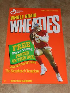 STEVE-YOUNG-SAN-FRANSICO-49ERS-VINTAGE-WHEATIES-CEREAL-POSTER-NR-MINT
