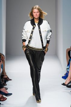 Balmain Spring 2014, Paris Fashion Week. Balmain is doing some great Upper East Side Varsity stuff this season. I like the combo of sporty cuts and traditional fabrics and trims.