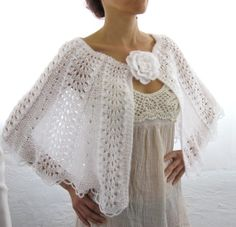 Elegant Hand Knitted  Lace  Bolero, Capelet  in  White. $99.00, via Etsy.