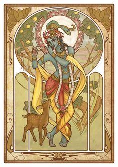 Hindu go Krishna, Mucha-like illustration Hare Krishna, Krishna Art, Madhubani Art, Madhubani Painting, Lord Krishna Images, Krishna Pictures, Oriental, Art Nouveau Illustration, Inspiration Art