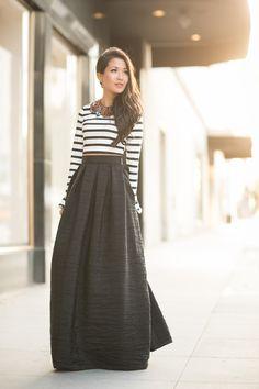 maxi skirt + stripes