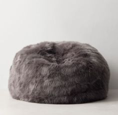 Kashmir Faux Fur Bean Bag - Dark Grey