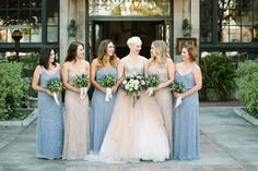 Sequin bridesmaids in champagne and steel gray