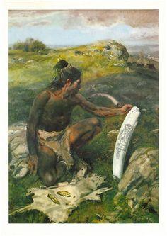 Homo sapiens sapiens, Primordial Artist 40-35.000 years ago  (Z.Burian-Pravek, Prehistoric World)